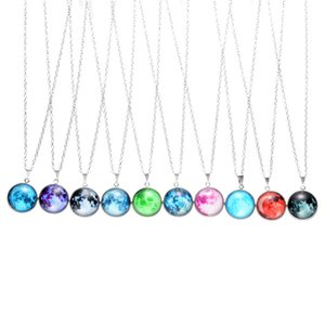 Wholesale Glowing In The Dark Galaxy Moon Pendant Necklace For Women Jewelry Sweater Chain Cosmic Starry Sky Choker Luminous Necklace