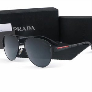 Wholesale 2019 HOT Fashion Sunglasses PRADA for Men Women metal frame Mirror polaroid Lenses driver Sun Glasses with brown case and box