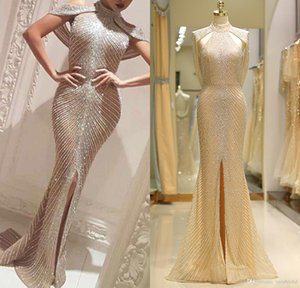Wholesale 2018 Yousef Aljasmi Front Slit Champagne Evening Dresses Robe Longue Luxury Crystal Sexy Mermaid Prom Dresses High Neck Vestidos De Gala