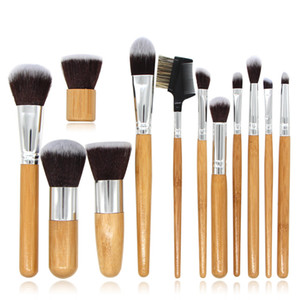 Wholesale Bamboo handle Makeup brushes make up brush for concealer foundation eyeshaow eye liner Makeup Brushers kit makeup brushes set cosmetic tools