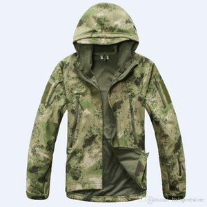 Wholesale sports army camouflage clothing for sale - Group buy Stealth Shark Skin Military Outdoor Jacket Men Sport Softshell Waterpoof Hunting Clothes Tactical Camouflage Army Hoodie Jacket hxl