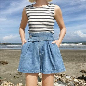 Wholesale Fashion Spring Summer Blue Casual Wide Leg Pants Vintage Female High Waist Button Loose Denim Shorts