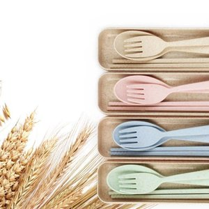 Wholesale 3 set Wheat Straw Travel Tableware Cutlery Set With Dinnerware Case Cutlery Set Portable FFA380
