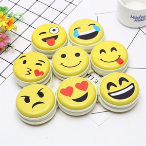 Wholesale Emoji Coin purse styles Metal Cute wallet Portable Keyring Coin purse Earphone Earbud Storage Iron Box Case designer wallet JY750