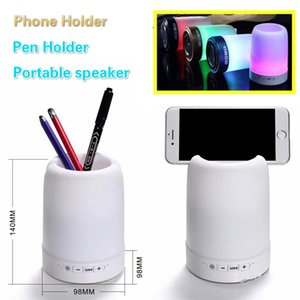 Wholesale HF Q6 LED Light Bluetooth Speaker Outdoor Wireless Portable Loudspeaker with Phone Holder Pen Container Stereo Soundbox Night Light