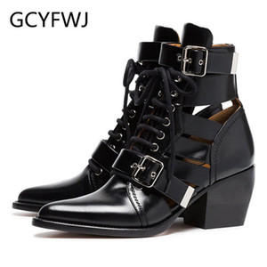 Wholesale GCYFWJ New Hollow Out Genuine Leather Boots Woman botines mujer Metal Buckle Lace Up Pointed Toe Fashion Punk Boots