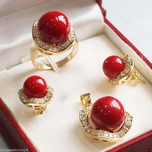 Wholesale Prett Lovely Women s Wedding New Jewelry GP Fashion Luxury Banquet red shell Set gt GP Bridal wide watch win