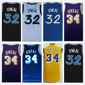 Wholesale Top Hot NCAA collage 34# Shaquille O Neal purple yellow Shaquille 32 O Neal basketball stitched jerseys size S-XXL