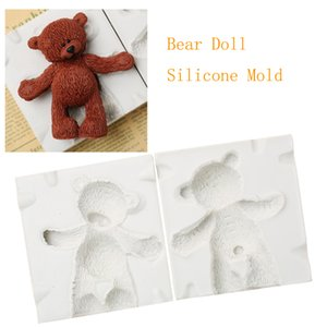 Fondant Big Size Bear Doll Silicone Mold Teddy Bear Toy Cake Decoration Mould Birthday Cake Poodle Bear Adornment Candle Form