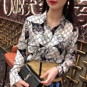 Wholesale Long Sleeved Print Shirt Spring Summer New Korean Version Turn down Collar Loose Letter Cardigan BlouseMX190824