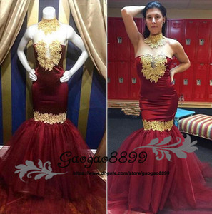Wholesale Gorgeous 2k19 burgundy Mermaid Prom Dresses Sexy Evening Gowns Halter with gold lace appliques South African custom made Formal Party Dress