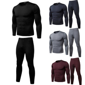 2pcs Men Thermal Underwear Set Winter Long Johns Warm Fit Cotton Tops Bottoms on Sale