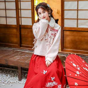 Wholesale Embroidery Hanfu Women Chinese Dance Costumes Winter Fairy Dress Festival Outfit Singers Oriental Performance Clothing DC3162