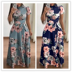Women Flower Print Short Sleeve maxi Dresses Stand Collar Pendulum Evening Party Dresses Expansion mother of bride prom Dresses 2019 Fashion