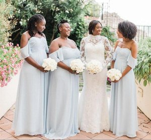 Wholesale bridesmaids dresses fast for sale - Group buy Fast DeliveryBoho Plus Size Summer Garden Wedding Guests Bridesmaids Dresses A Line Pleats Off Shoulder Sky Blue Chiffon Maid of Honor Gowns