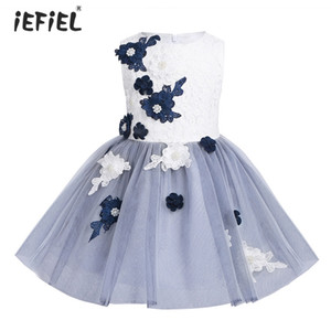 Wholesale 2018 Girls Mesh Sleeveless Embroidered Lacework with Pearls D Flower Girl Dress Princess Pageant Wedding Birthday Party