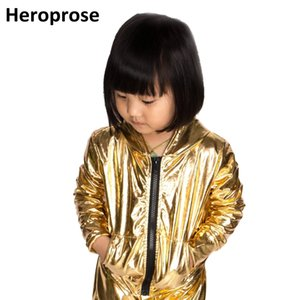 Wholesale Spring Autumn Kids Gold Bomber Jacket Stage Performance Wear Paillette Feminina Casaco Hip Hop Dance Coat J190508