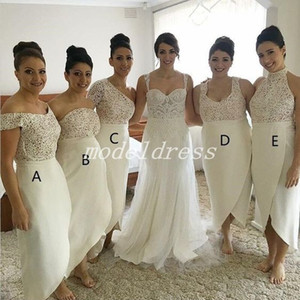 Wholesale side high low wedding dresses resale online - Arabic Ivory High Low Bridesmaid Dresses Five Styles Side Split Sheath Lace Plus Size Garden Country Wedding Guest Dress