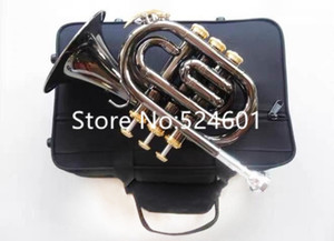 Wholesale winds instrument resale online - Hot Selling Mini Pocket Trumpet Bb Flat Black nickel Wind instrument with Mouthpiece Case