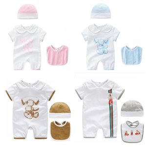 Wholesale Retail Baby Rompers Summer Baby Girl Boy Clothes kids climbing Newborn romper Infant Jumpsuits cartoon printed romper hat bib