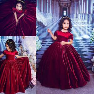 Wholesale Gorgeous Grape Velvet Flower Girls Dresses With Short Puffy Sleeve Ball Gown Wedding Party Dresses Colour Birthday Kids Dress