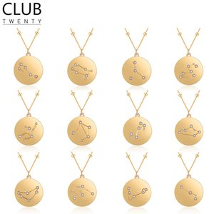 Wholesale Women Constellation Pendant Necklace Copper Astrology Horoscope Coin Neckalces for Men Women Birthday Gift