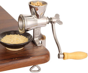 Table Clamp Design Cereal Corn Mill Powder Machine with Wooden Handle, Home Kitchen Tool Stainless Steel Coffee Grinders for Soybeans Nut Wh