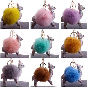 Wholesale pompom keychain faux fur resale online - 5pcs Girl Cute Faux Fur Ball Christmas Sika Deer Keychain Pompom Fluffy Sika Deer Key Chain Leather Key Ring Bag Car Keyring Keychains