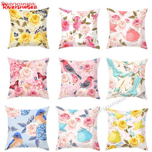 European Style Pastoral Flower And Bird Printed Pillow Garden Pink Rose Flowers Butterfly Leaf Chair Cushion Cojin For Girl Gift