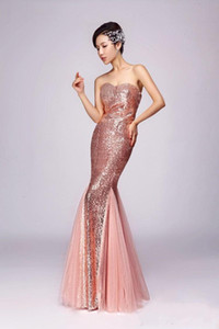 Wholesale 2019 New Evening Dresses Dress fashion New Married Long Bride Gown Sleeveless Mermaid Sequined Gown for performance bridesmaid party prom