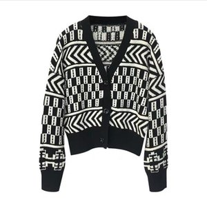 Wholesale Winter Knit Cardigan Women Autumn Comfortable Cotton Sweater Korea Black V Neck Lazy Elegant Short Loose INS Jacket