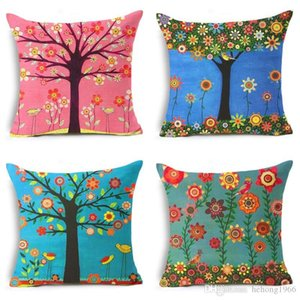 Wholesale sofa paintings trees for sale - Group buy New Creative Soft Retro Pillowslip Painting Tree Pillow Case Classic Flax Cushion Cover Sofa Bedroom Decor Multi Color High Quality zy