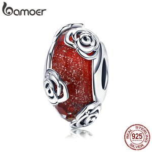 Wholesale Hot Sale Real Sterling Silver Rose Flower European Glass Red Beads Fit Charm Bracelets DIY Jewelry Accessories