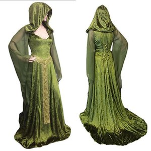 Wholesale Forest Elf Fairy Elven Costume Maxi Train Dress Adult Women Celtic Princess Pagan Witch Wedding Hooded Gown Robe For Lady Green
