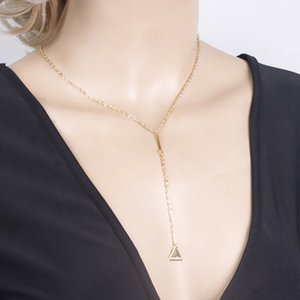 Wholesale Lagemisay Korean Gold Small Triangle Long Pendant Necklace For Women Simple Design Statement Choker Necklace Fashion Jewelry