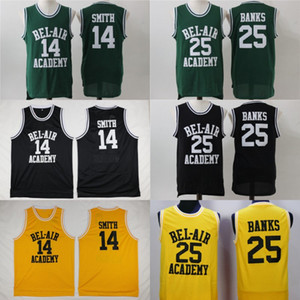 Wholesale Mens BEL AIR Academy Movie Jersey Will Smith Carlton Banks Basketball Jerseys Yellow Black Green High Quality