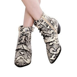 Spring Paisley Design Snake Skin Genuine Leather Boots Woman Pointed Toe High Heels Ankle Boots Buckle Lace Up Women O10