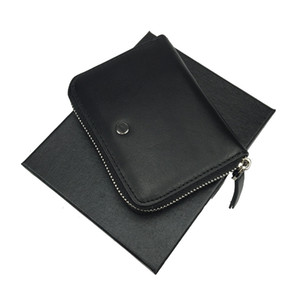 New hot luxury men's leather black zipper bag multi-card slot ID business wallet credit card gift free shipping with box