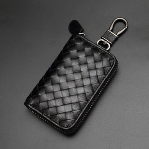 Wholesale Fashion Weaving Leather Key Wallets Luxury Design Alloy Keychains Unisex Key Holder Hot Sales Men Women Black Leather Key Rings Lover Gift