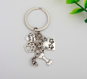 Hot 50Pcs Lot Antique Silver Heart My Dog&Dog Paw Print&Bone Charm 5 Pendant Key Chain Women Men Jewelry Accessories Gifts S836