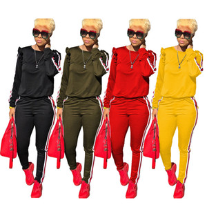 Wholesale Women Fashion Ruffle Suits 2pcs Pants Candy Color Clothing Sects Long Sleeve Pencil Pants Fashion Apparel