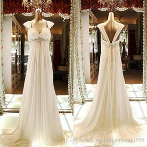 Elegant Pregnant Wedding Dresses 2018 Maternity Bridal Gowns Empire A Line Spaghetti Straps Beach Wedding Gowns Fancy Custom Made