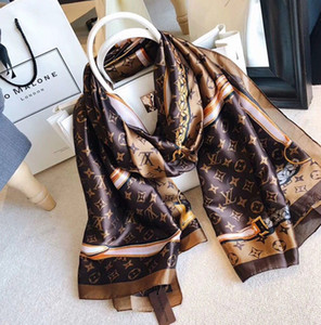 Wholesale Spring silk scarf Hot women Letter shawl scarf fashion long neck ring Christmas gift x90cm