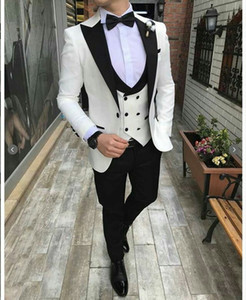 Wholesale White Groom Tuxedos Mens Wedding Suits Black Peaked Lapel Man Blazer Piece Slim Fit Male Jacket Trousers Double Breasted Vest Prom Party