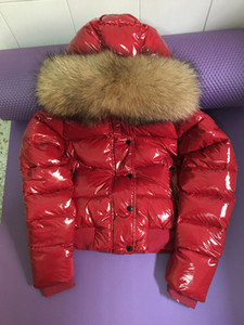 Wholesale Brand women down jacket thickening Short down parkas real raccoon fur collar hood down coat