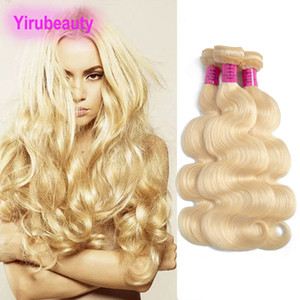 Malaysian 10A Human Hair 613# Blonde Straight Remy Hair Weaves Double Wefts Straight 613 Color 8-30inch Yiruhair