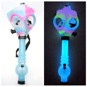 Gas Mask Bong Both Glow in the Dark Water Shisha Acrylic Smoking Pipe Sillicone Mask Hookah Tobacco Tubes Free Shipping Wholesale on Sale