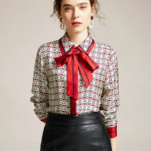 Wholesale 2020 European And American Style Early Spring New Womens Lapel Long Sleeves Shirt Heart Shaped Printed Ribbon Silk Top Womens MJ1179
