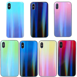 Case For iphone XR XS Max gradient aurora color intrigue explosion-proof tempered glass cell phone case For iphpne x xs 8 plus C