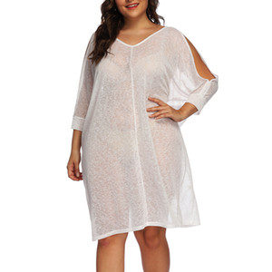Wholesale Summer Plus Size Solid Beach Cover Up Women Long Sleeve V Neck Sexy Dress Robe De Plage Beach Wear Swimwear Vestidos Cover Up